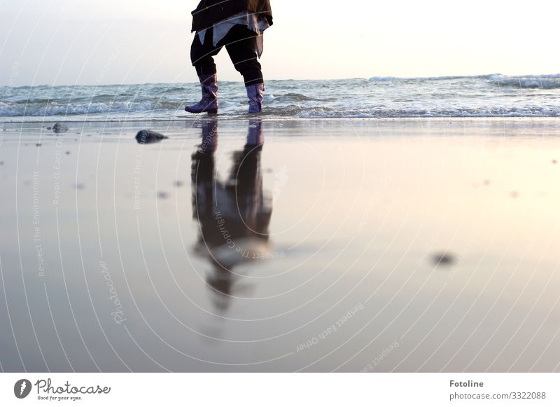 Love rubber boots :-D Environment Nature Landscape Elements Water Sky Cloudless sky Spring Waves Coast Beach North Sea Ocean Island Bright Wet Sandy beach Sylt