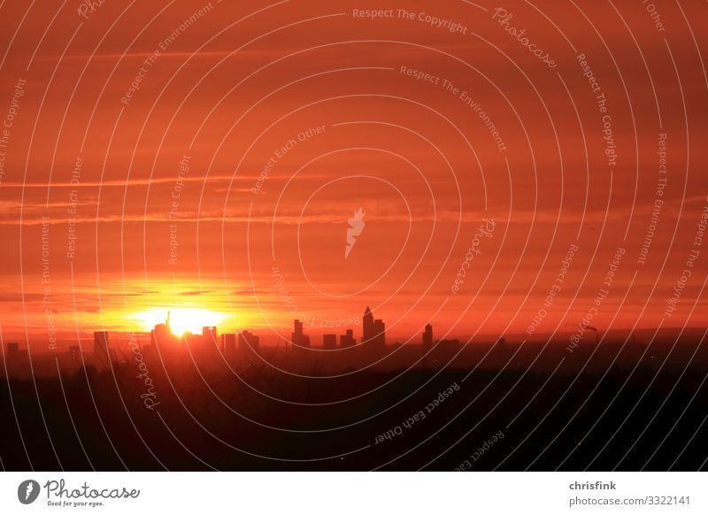 Sunrise in Frankfurt am Main Environment Nature Landscape Sky Sunset Weather Warmth House (Residential Structure) High-rise Bank building Factory Illuminate
