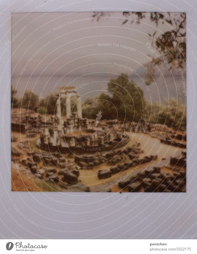 Polaroid photo ruin of Delphi Vacation & Travel Tourism Trip Sightseeing Old Famousness Ruin Ancient Greece Antiquity Excavation Zeuss legendary World heritage