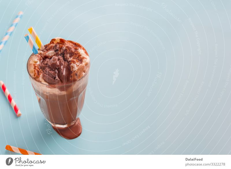 Chocolate smoothie on fluor color background Yoghurt Fruit Dessert Breakfast Diet Hot Chocolate Wood Fresh Delicious Brown White Banana blended cacao Cereal