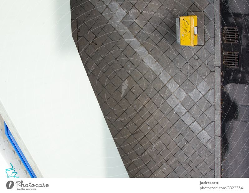 Collection point Climate change Wall (barrier) Wall (building) Sidewalk Paving tiles Gully Mailbox Concrete Dirty Sharp-edged Retro Under Town Yellow Gray Moody