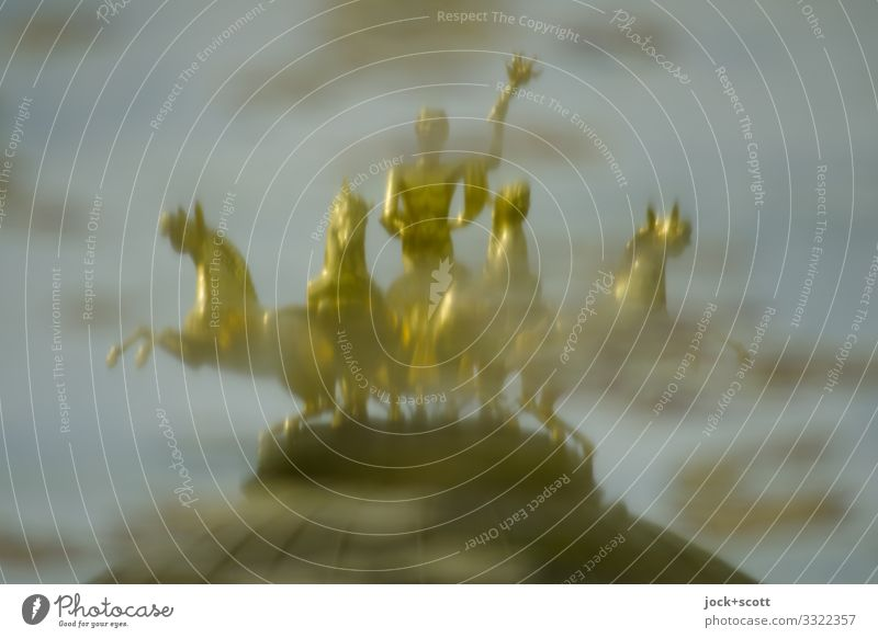 Reflection of figures in gold Sculpture Carriage and four Baroque Sky Park Puddle Bayreuth Monument Decoration Horse Figure Exceptional Fantastic Fluid Historic