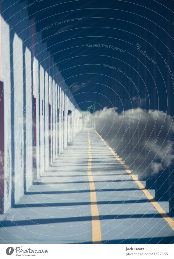 New guideline Clouds Column Passage Lanes & trails Cycle path Diversion Line Road marking Free Long Orderliness Symmetry Change Double exposure Reaction