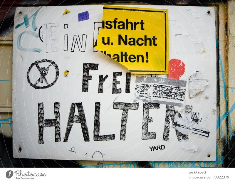 Written Free Hold Characters Signage Plastic Self-made Warning sign Kreuzberg Wood fiber board