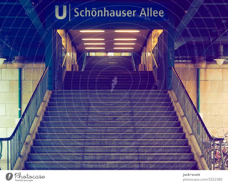 Schönhauser Allee Climate Prenzlauer Berg Downtown Train station Architecture Underground Subway station Stairs Traffic infrastructure Banister Landing