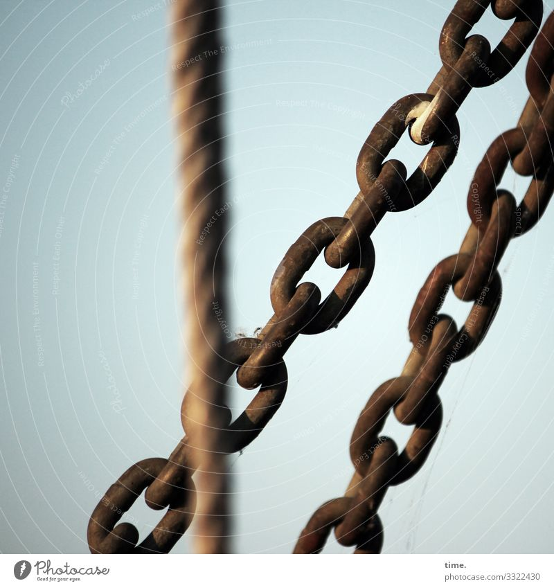 Interlinking (6) Rope Chain Tension Metal Steel Rust Hang Together Maritime Trust Safety Protection Endurance Unwavering Orderliness Esthetic Accuracy