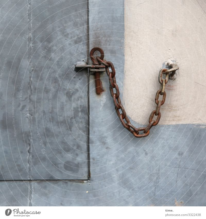 Chains (1) Wall (barrier) Wall (building) door Flap Closure Bracket Closed Safety Protection Responsibility Conscientiously Orderliness Accuracy Inspiration