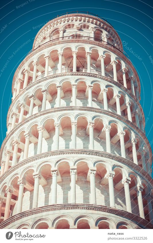 Close up of leaning tower of Pisa vintage retro toned ancient art attraction pisa tower construction history square marble heritage piazza dei miracoli miracle