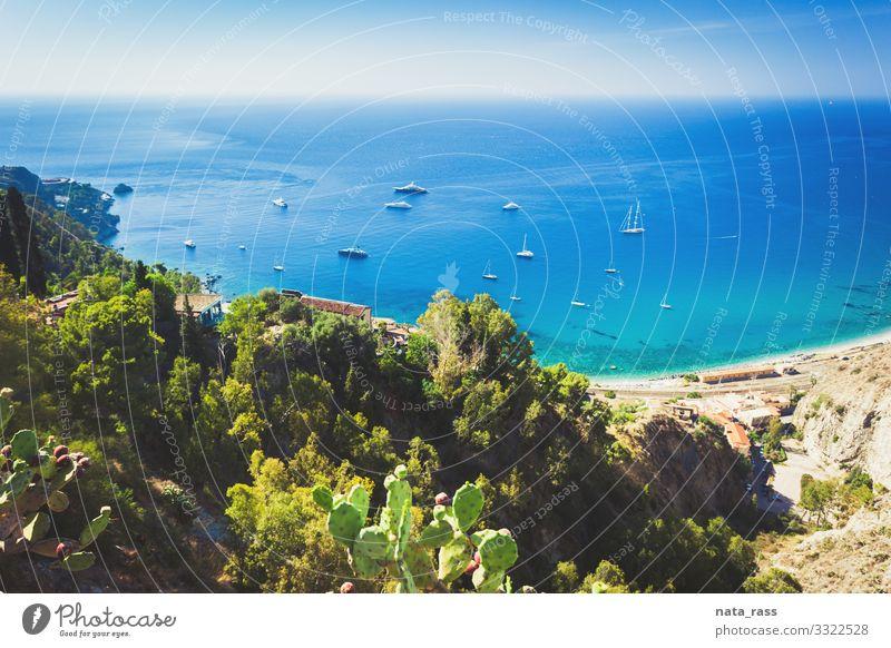 View from Taormina on a railway station  in Sicily island destination aerial coastal outdoors seascape mediterranean taormina nobody above landscape beach