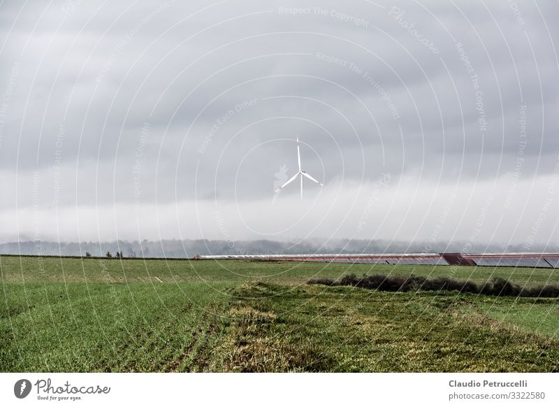 Wind turbine in fog Economy Agriculture Forestry Industry Energy industry Technology Advancement Future Renewable energy Wind energy plant Environment Nature