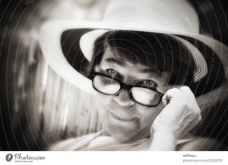 feminine flirting over the edge of the glasses Lifestyle Luxury Elegant Style Feminine Woman Adults Eyeglasses Hat Observe Flirt Lady Charming Infatuation