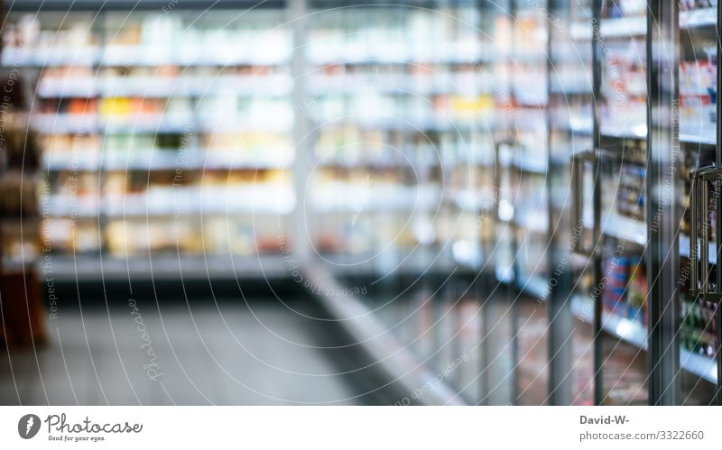Supermarket with refrigerated shelves and food business Food refrigerated shelf Store premises Deserted grocery shopping Shopping week shopping Corridor Empty