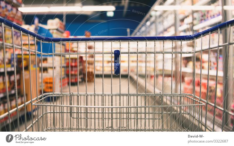 Empty shopping cart in the store Shopping Trolley Load business Food just sold out week shopping scarcity coronavirus Fear search Offer Advertising