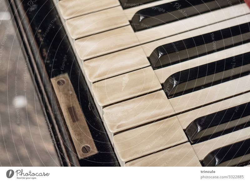 Close up of an old piano with patina Music Culture Concert Piano Musical instrument Old Authentic Esthetic Education Nostalgia Subdued colour Interior shot