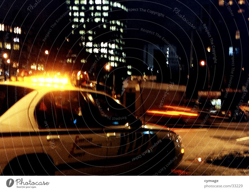 Dark Car Transport Speed Help Driving USA Skyline New York City Warning light