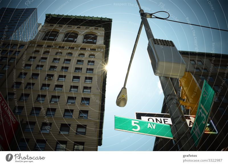 good morning NY Shopping Vacation & Travel Tourism City trip New York City Downtown Pedestrian precinct Street Crossroads Road sign Fifth Avenue Exceptional