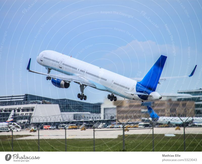 take-off Vacation & Travel Tourism Trip Far-off places City trip Summer vacation Clouds Town Airport Transport Means of transport Aviation Airplane