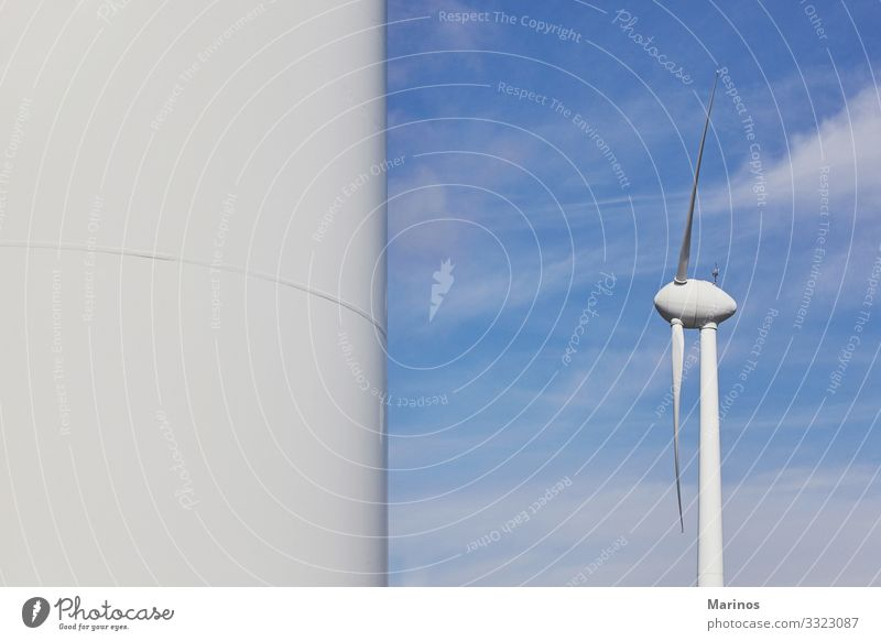 Wind turbine for electric power production.Ecological energy. Industry Energy industry Technology Environment Nature Landscape Sky Blue Green White turbines