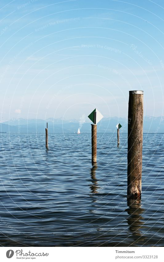 Blue tones and orientation aids Vacation & Travel Environment Nature Landscape Elements Water Sky Beautiful weather Lake Lake Constance Transport Navigation