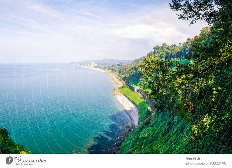 panorama sea beach and city view from a high mountain in Georgia Vacation & Travel Tourism Trip Summer Beach Ocean Mountain Wallpaper Nature Landscape Sky