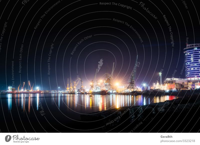 sea ??port with ships and barges in Batumi at night Vacation & Travel Ocean House (Residential Structure) Logistics Landscape Coast Building Architecture