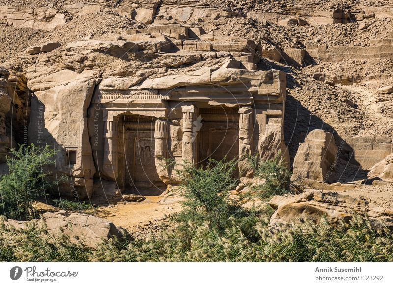 Rock temple in the quarries of Aswan, Upper Egypt Tourism Sightseeing Flat (apartment) Archeology Nature Landscape Sun Climate Beautiful weather Warmth Grass