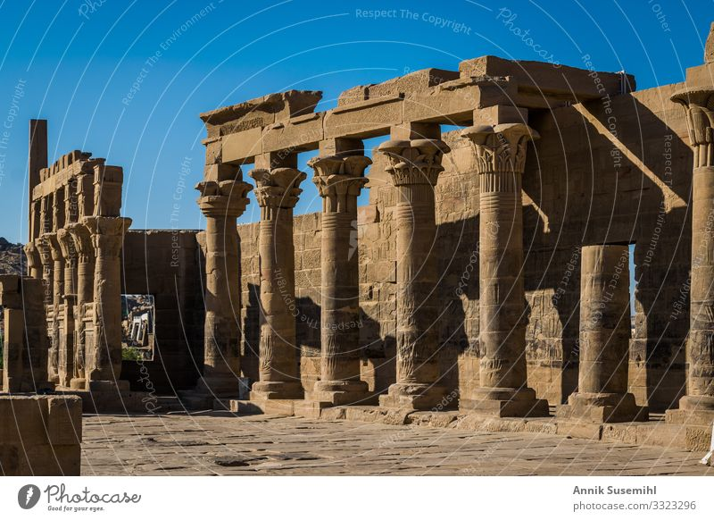 Philae temple in Aswan, Egypt. Temple Column Hieroglyph Historic Architecture Africa voyage History of the Archeology Belief Tradition Pharaohs pharaoh beyond