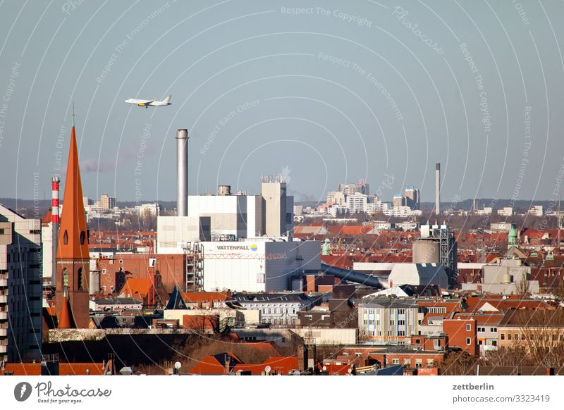 Air traffic over Moabit Berlin City Germany Far-off places Capital city Horizon Vacation & Travel Travel photography Skyline Town Tourism City life Review