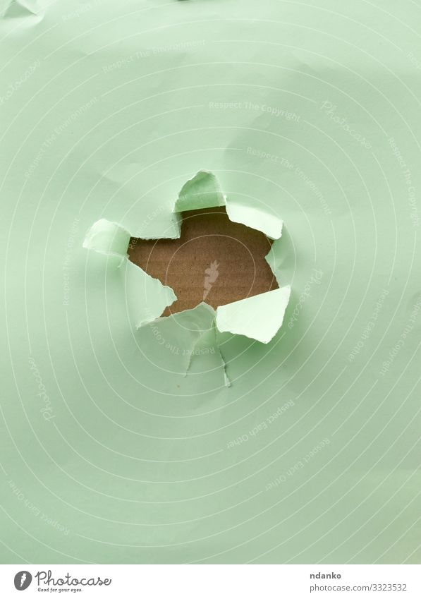 hole in green paper Green Brown Design Open Paper Craft (trade) Crack & Rip & Tear Text Cardboard Communication Consistency Cut Damage Torn Blank Grunge