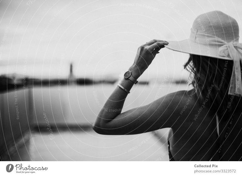 Woman holding her hat wearing a bikini Lifestyle Elegant Style Design Vacation & Travel Adventure Freedom Sightseeing Summer Summer vacation Sunbathing Adults