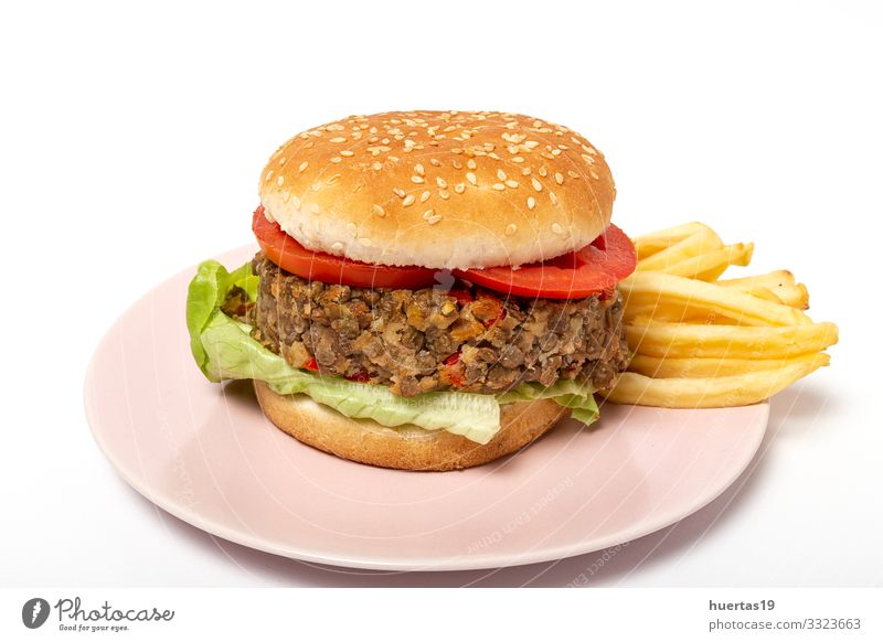 Homemade Vegan Lentil Burger Food Vegetable Bread Lunch Vegetarian diet Diet Lifestyle Healthy Eating Fresh Natural Green Vegan diet burger healthy food