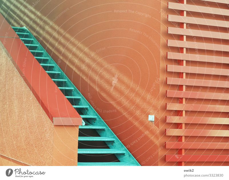 Duotone Building Wall (barrier) Wall (building) Stairs Banister Metal Plastic Sharp-edged Simple Modern Red Turquoise Upward Colour photo Exterior shot Detail