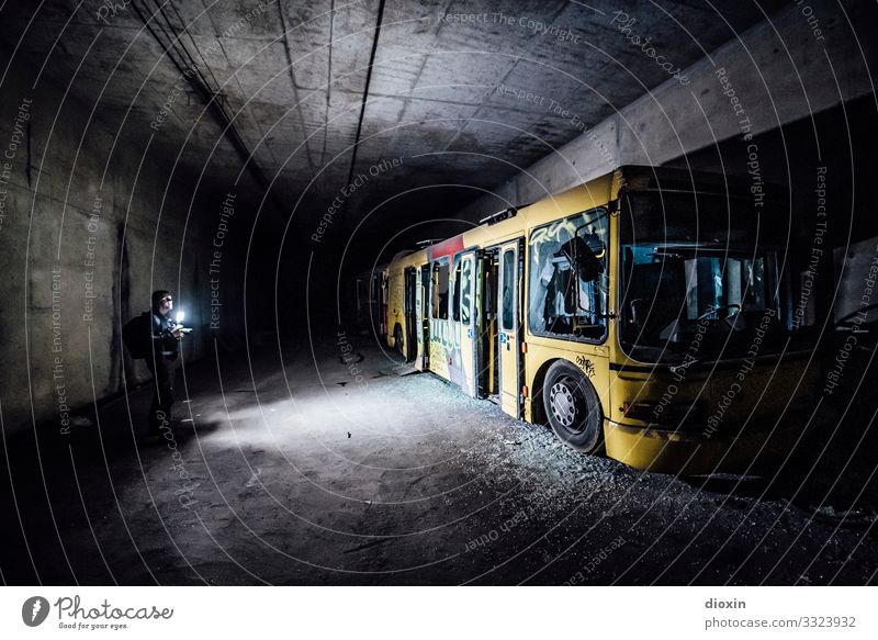 the tunnel | explorer Adventure Human being Young man Youth (Young adults) 1 30 - 45 years Adults Tunnel Transport Means of transport Passenger traffic