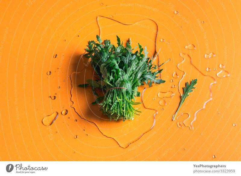 Arugula bundle on water splash on orange background Vegetable Lettuce Salad Organic produce Vegetarian diet Diet Healthy Eating Garden Gardening Plant Spring