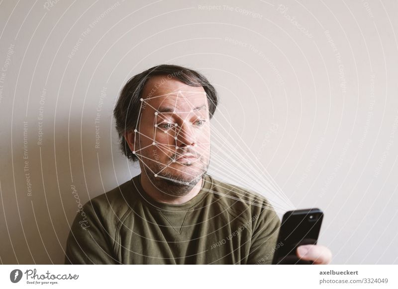 Smartphone with face recognition smartphone Face Scan Cellphone Technology Lifestyle Leisure and hobbies Telephone Software Science & Research Advancement