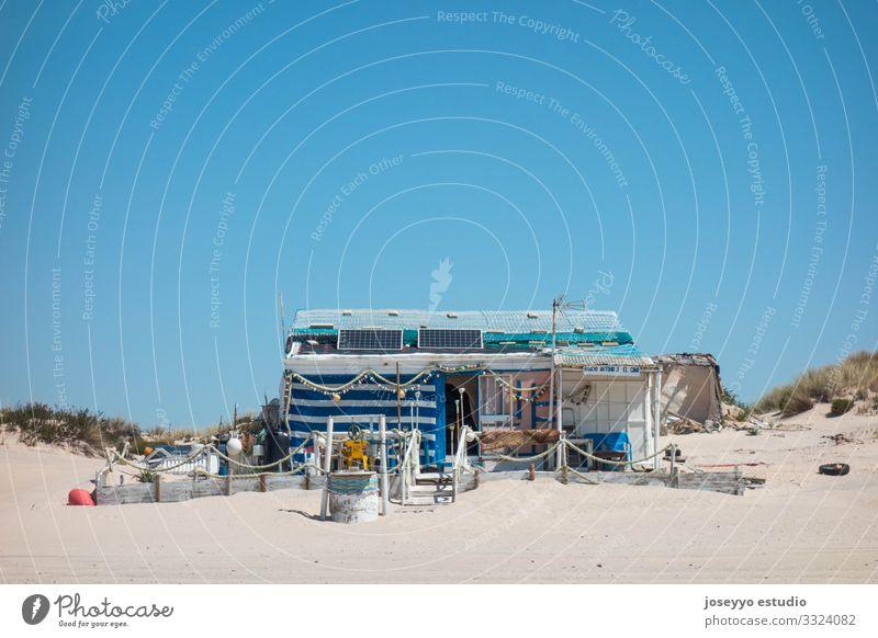 Fisherman's cabin on the beach Andalucia Atlantic Ocean Beach Blue Watercraft Hut Coast Destination donana Dune Environment House (Residential Structure) Huelva