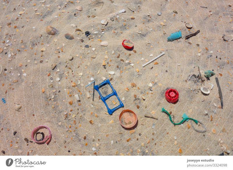 Plastics on the sand of the beach. Awareness Beach Bottle Clean Coast ears sticks Ecological Education Environment Free Future lollipops micro Nature Ocean