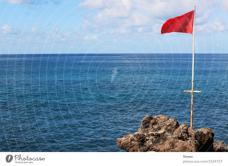 flag in the wind Swimming & Bathing Vacation & Travel Far-off places Summer Summer vacation Ocean Aquatics Nature Landscape Elements Water Sky Clouds