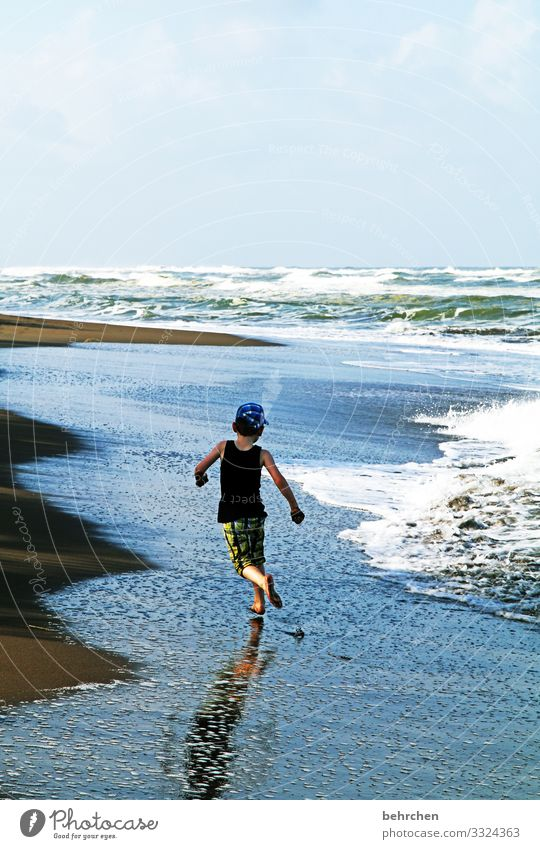 one with the waves tortuguero Landscape Contrast Fantastic Adventure Trip Boy (child) Child Freedom Far-off places Vacation & Travel Tourism Infancy Ocean Beach