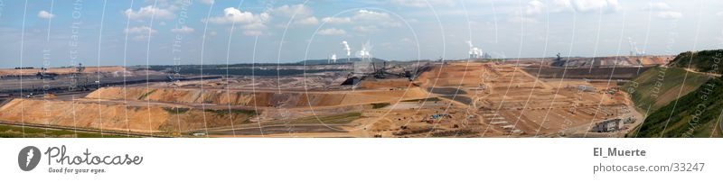 Wide panorama from Garzweiler Panorama (View) Mining Might Earth Floor covering Haircut machines Energy industry Electricity generating station layering Nature