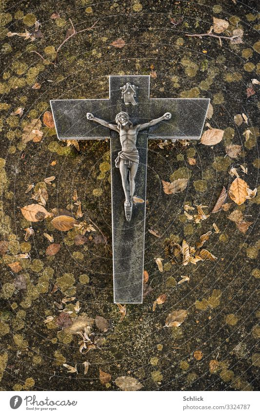 grave Christian cross Jesus Christ Grave Tombstone Stone Metal Brown Gray Green Black Dedication Sadness Grief Death Pain Pastel tone Religion and faith