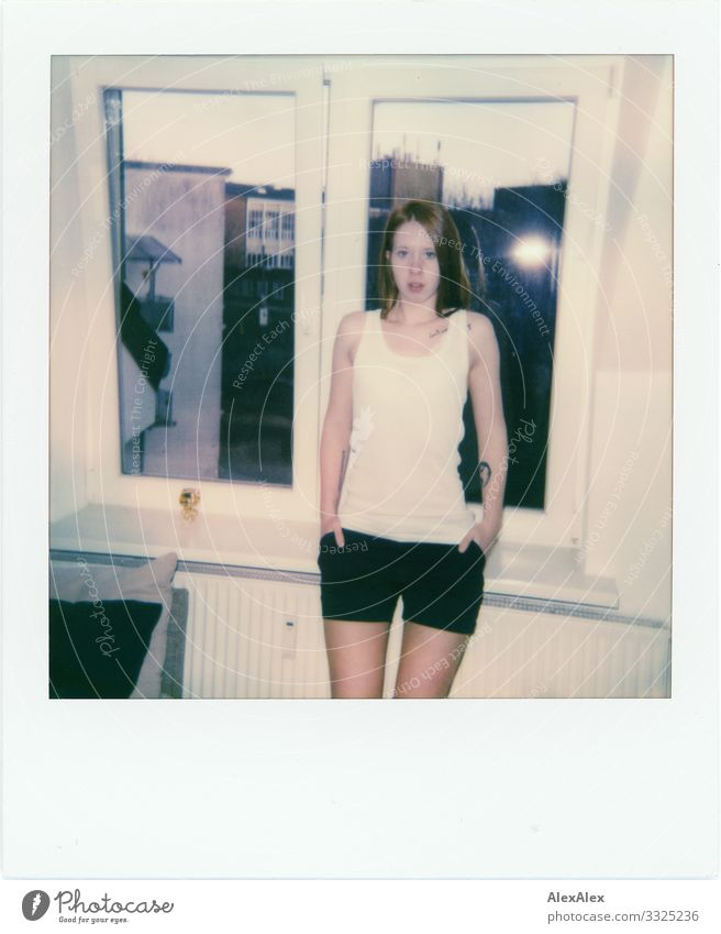 Polaroid of a young woman in front of the window Joy Beautiful Living or residing Flat (apartment) Young woman Youth (Young adults) 18 - 30 years Adults Window
