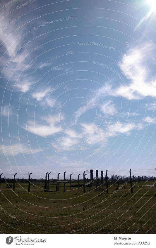 Sky Sun Blue Clouds Historic Barbed wire Auschwitz-Birkenau