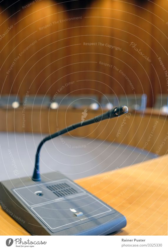 Political debate - In the Chamber of Parliament Office Economy Success Meeting To talk Politician Political science Microphone Duesseldorf Architecture Wood