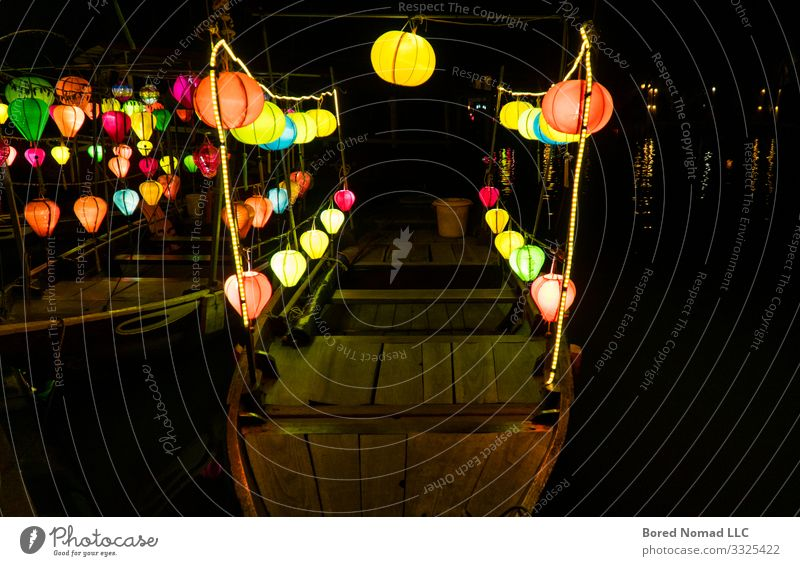 Lanterns on boats in Hoi An, Vietnam Beautiful Vacation & Travel Tourism Decoration Lamp Night life Feasts & Celebrations Art Culture Nature River
