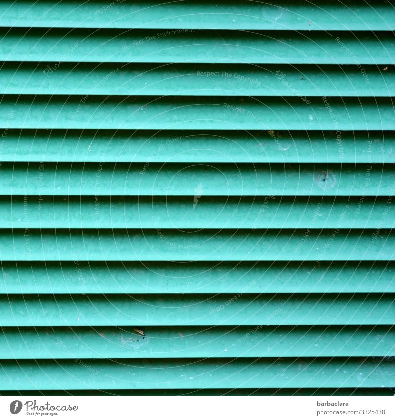 ruled Vent slot Technology Energy industry Box Container Metal Line Stripe Turquoise Design Environment Town Colour photo Exterior shot Close-up Detail Abstract