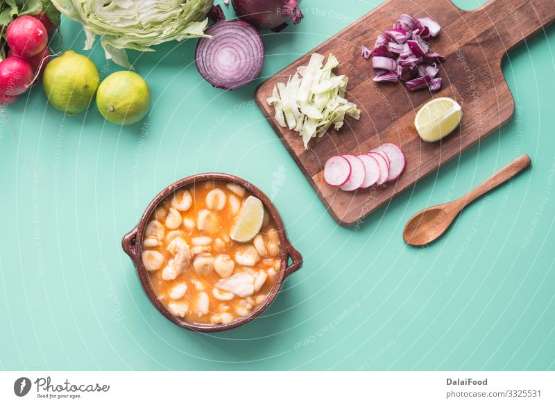 Pozole red typical mexican food Cheese Vegetable Soup Stew Herbs and spices Lunch Dinner Plate Exotic Kitchen Hot Green Red Tradition avocado Chicken chili