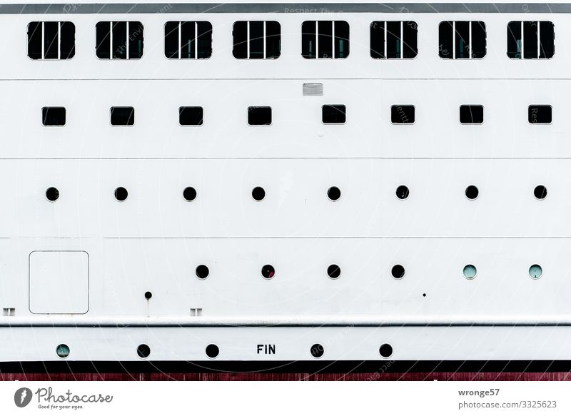 Portholes and windows of a passenger ship boat Passenger ship Ship's side portholes Deserted Window Navigation Exterior shot Colour photo White Black Round