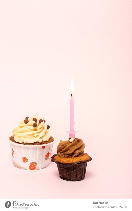 Birthday Homemade Cupcake with candle Food Dessert Candy Happy Decoration Feasts & Celebrations Candle String Delicious Pink Colour Baking sweet party