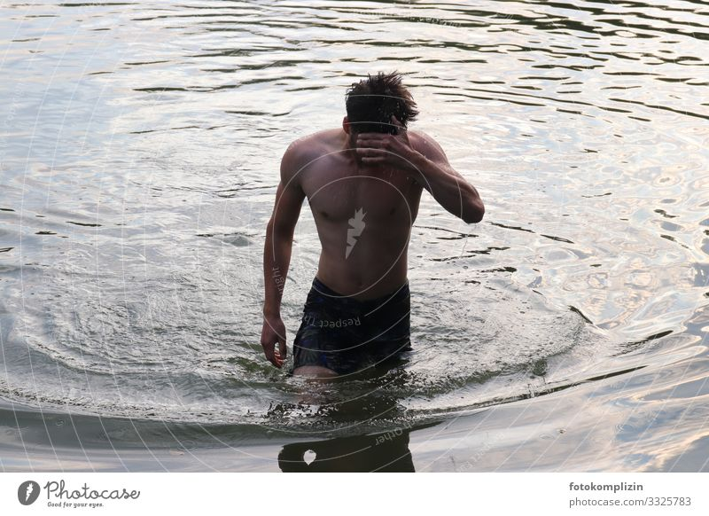water man Healthy Fitness Masculine Young man Youth (Young adults) 1 Human being 18 - 30 years Adults Water Waves Swimming & Bathing Think Freeze Sports Stand